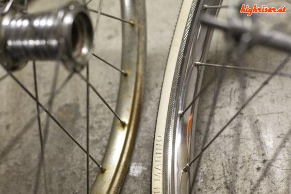 Alexander 18 Zoll Bonanzarad – Felge poliert mit neuen Reifen